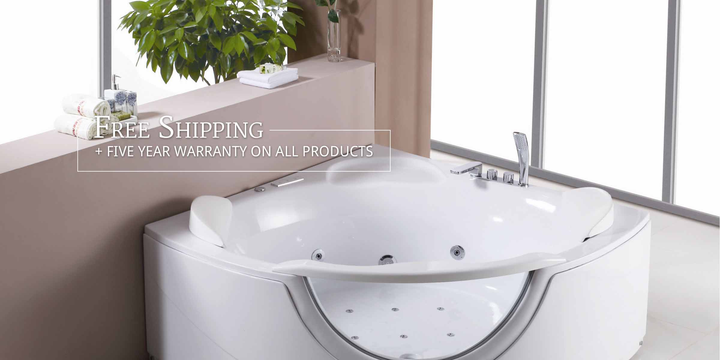 Photo: Jetted Tub in Bathroom. Text: Free Shipping + Five Year Warranty
