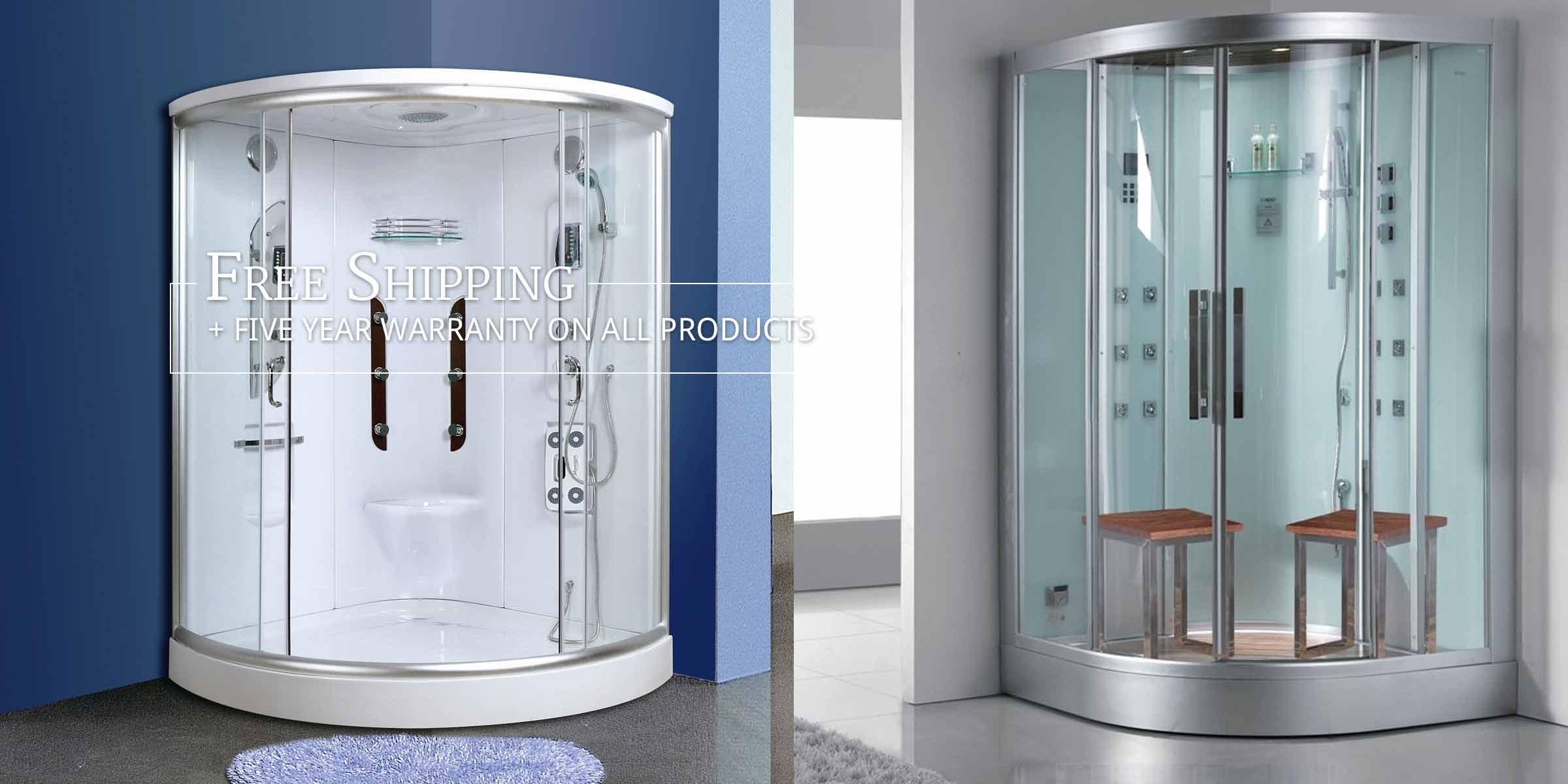Photo: Steam Shower & Hyrdo Shower in 2 different bathrooms. Text: Free Shipping + Five Year Warranty